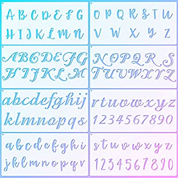 8 Pieces Calligraphy Letter Number Stencil Reusable Template Cursive Alphabet Cake Stencils with Metal Open Ring for Cake Airbrush Art and Craft Painting  11.8 x 5.9 Inch