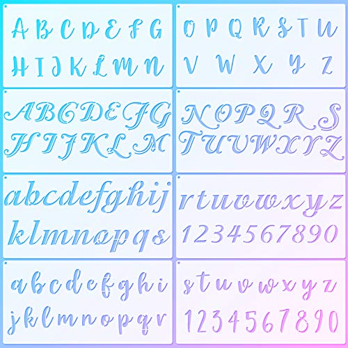 8 Pieces Calligraphy Letter Number Stencil...