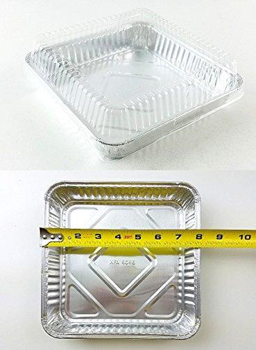Handi-Foil Square Aluminum Foil Cake Pan w/Clear Dome Lid - Disposable Pans (Pack of 50 Sets)
