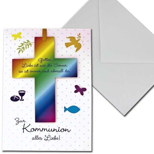 Kaart communiekaart communie kruis vis duif vier jaargetijden briefverpakking bont