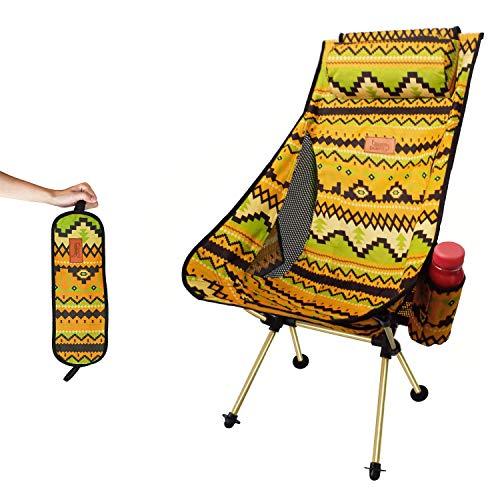 DesertFox アウトドアチェア 折りたたみ 枕付き 超軽量【ハイバック】【 選べる6色】【耐荷重150kg】 コンパクト イス 椅子 収納袋付属 お釣り 登山 携帯便利 キャンプ椅子 0099 (黄/ハイバック)