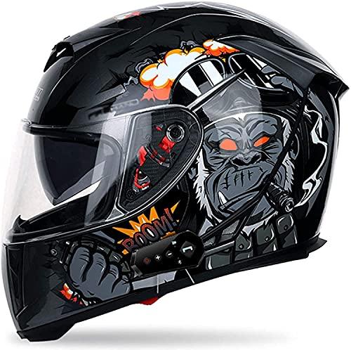 CHLDDHC Casco de motocicleta abatible, antirreflectante, doble visera, modular de cara completa, Bluetooth, radio FM de comunicación integrada para hombres y mujeres, aprobado por DOT (55-64 cm)