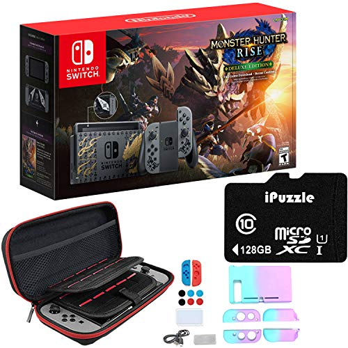 Newest Nintendo Switch Monster Hunter Rise Deluxe Edition System with Gray Joy-Con - 6.2' Touchscreen LCD Display, 802.11AC WiFi, Bluetooth 4.1, 32GB Storage - 128GB SD Card + 11-in-1 Carrying Case