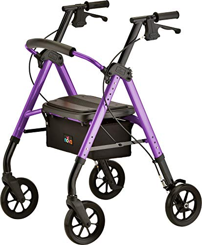 """NOVA Medical Products Star DX Heavy Duty Bariatric Rollator Walker with Extra Wide Padded Seat, 8"""" Wheels, Fold Lock Feature, with Adjustable Seat Height & 450 lb Weight Capacity, Purple"""