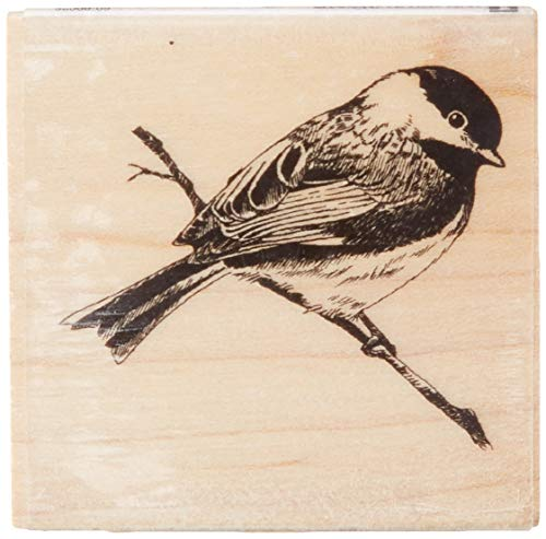 Inkadinkado Chickadee on a Branch Wood Stamp, 2'' W x 2'' L
