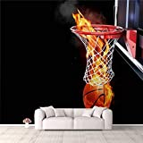 3D Wallpaper Flaming Basketball Going Through a Court net Self Adhesive Bedroom Living Room Dormitory Decor Wall Mural Stick and Peel Background Wall Ceiling Wardrobe Sticker