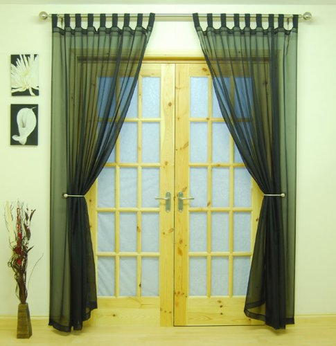 "Black Woven Voile Tab Top Panel. Buy One Panel Get One Free. 58"" Wide x 90"" Drop."