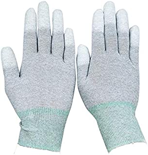 UgyDuky ESD Anti Static Gloves, 5 Pairs Safety Work Gloves, Anti Skid High Resistance Carbon Fiber PU Coated Sewing Work Gloves, Size Medium