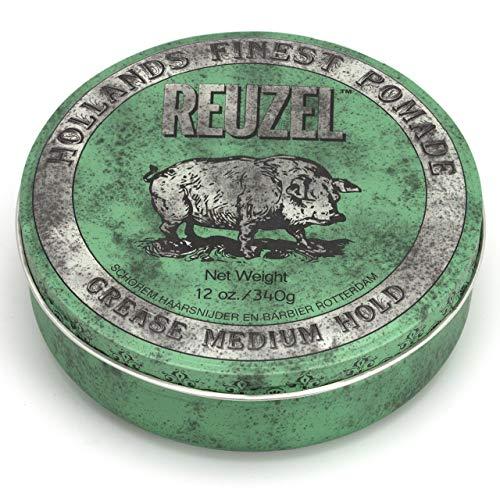 Reuzel - Green Grease Medium Hold Pomade - Funktioniert gut bei normalem bis dickem Haar - Kontrolliert das lockigste dickste und widerspenstigste Haar - Fördert & unterstützt die Feuchtigkeitsversorgung - 12 oz/340 g