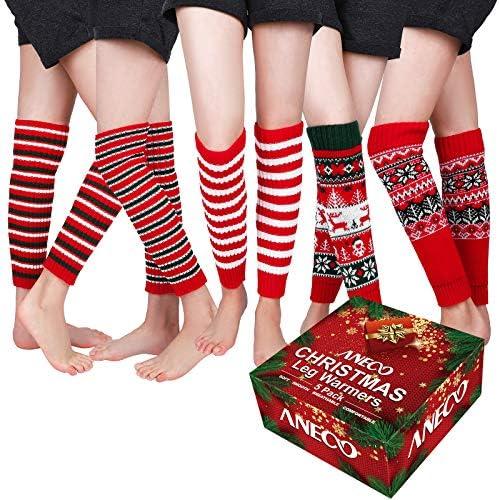 Aneco 5 Pack Christmas Leg Warmers Women s Fashion Winter Knit Crochet Leg Warmers Boot Cuffs product image