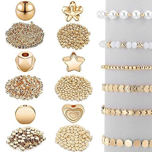 Mungowu Juego de Cuentas Espaciadoras de 1200 Piezas para la FabricacióN de Joyas de Collar de Pendientes de Pulsera (6 Formas Diferentes)