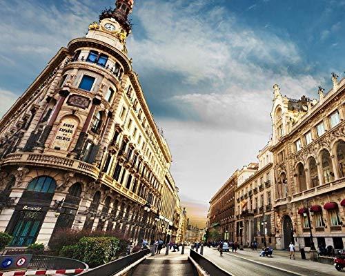 Kpoiuy PinturaporNúMeros para Adultos NiñOs Pintura por NúMeros con Pinceles Y Pinturas Decoraciones para El Hogar - Edificio De La Ciudad De Barcelona Gente De La Calle 16 * 20 Pulgadas