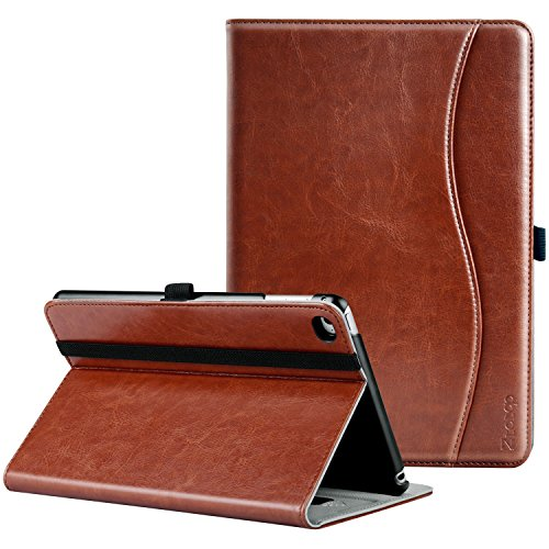 Ztotop iPad Mini 4 Case, Leather Folio Stand Protective Case Smart Cover with Multi-Angle Viewing, Paperwork Card Pocket, Functional Elastic Strap for iPad Mini 4 - Brown