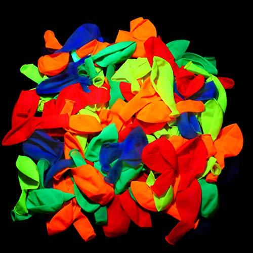 Globos de Fiesta de Luz Negra, 10 Pulgadas Globos Fluorescentes de Neón UV de Látex de Colores Surtidos para Suministros Fiesta de Arco de Globos de Boda Cumpleaños, 5 Colores(100 Piezas)