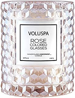 Volsupa Rose Colored Glasses Icon Cloche Textured Glass Candle, 8.5 Ounces