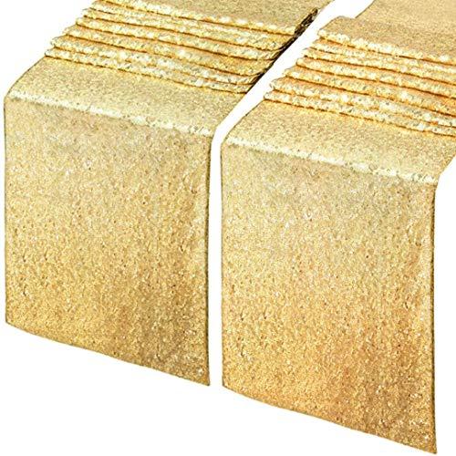 Nother Tinyuet Chemins de Table Doré, 2Pcs 30x275cm Coureur de Table Royal Brillant d'or pour la Partie de Banquet de Mariage