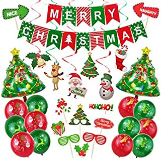 WUJING Decoration Merry Christmas Banner Christmas Tree foil Balloon Photo Props Swirl Santa Deer Sock Bell Balloons Green red Xmas Party Supplies