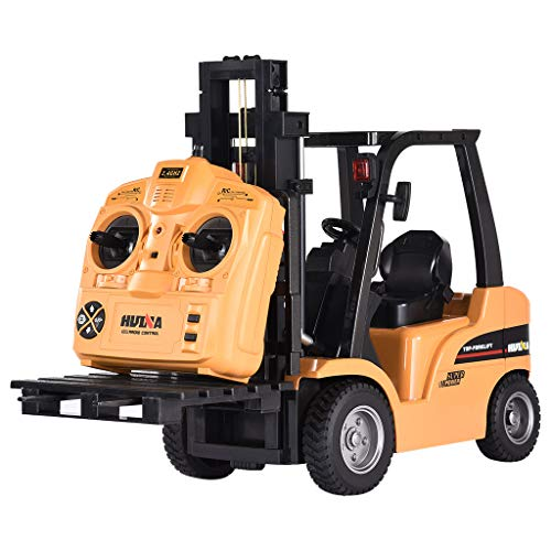 shamoluotuo RC Forklift Truck Crane 1:14 16Ch 2.4G 2-In-1 Mine Engineer Construction Vehicle Sandbox Toys Engineering Truck Metal Simulation Model Rechargeable & Full Functional