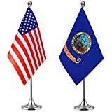 WEITBF Idaho State Desk Flag Small Mini Idaho Office Table Flag with Stand Base,2 Pack