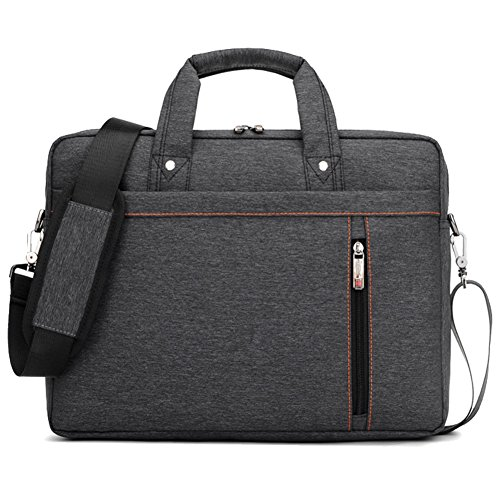 SHUL Water Resistant 17 inch Business Laptop Shoudlder Bag Shockproof Messenger Crossbody Bag Briefcase for Notebook Computer Chromebook Ultrabook Acer Dell Hp Sony Ausa Samsung Lenovo Black