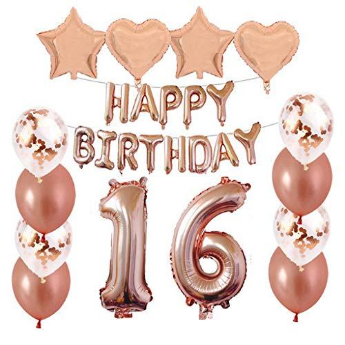 Crazy-m 16 Geburtstag Dekorationen Kit Folienballon 16 Geburtstag Dekorationen Rosegold für Mädchen Birthday Party Supplies Alles Gute zum Geburtstag Konfetti Happy Birthday 16 Buchstaben Banner,