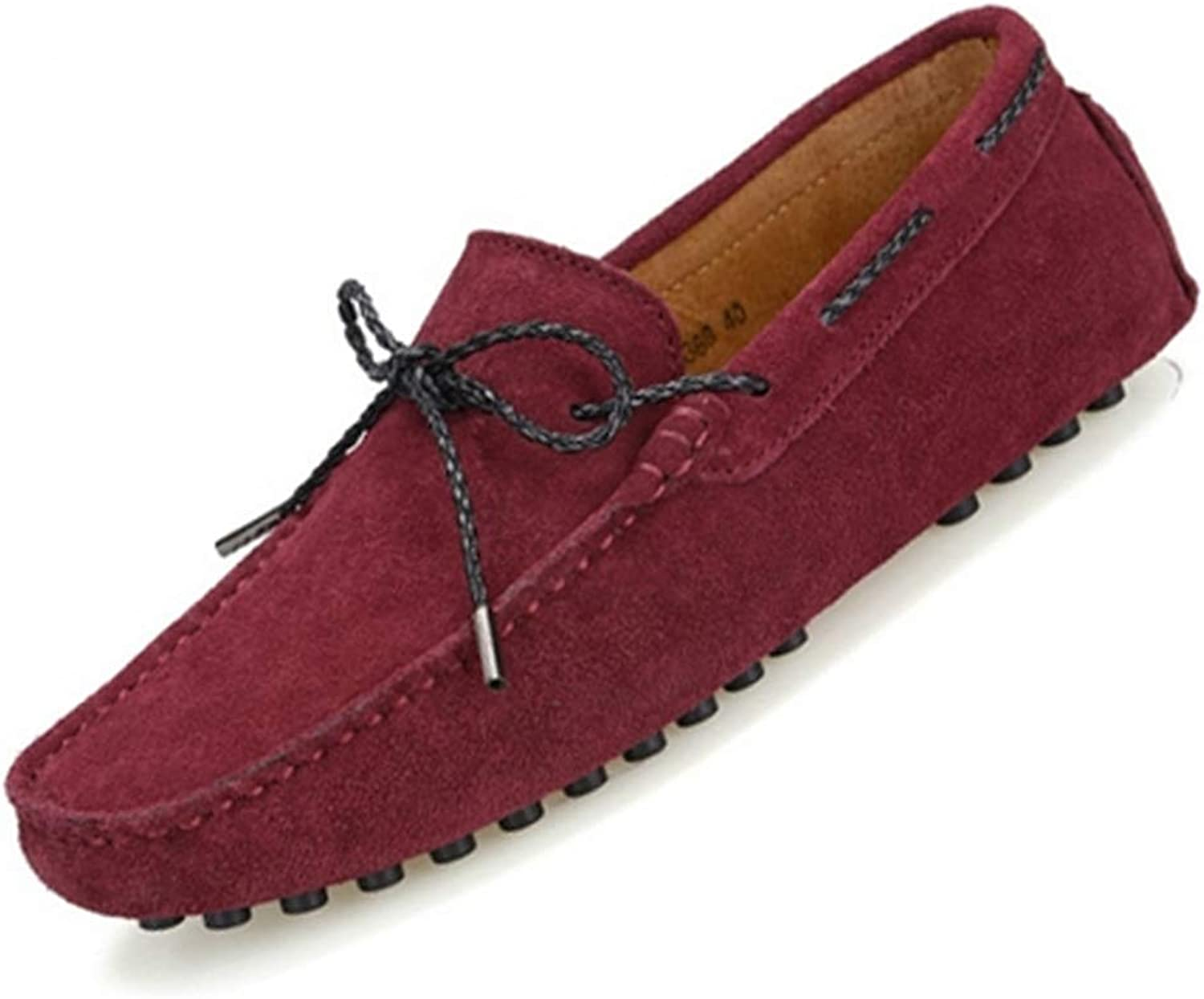 ZHRUI Man Moccasin Fashion Style Solid Adults Loafers Men Driving shoes (color   Wine red, Size   7=41 EU)