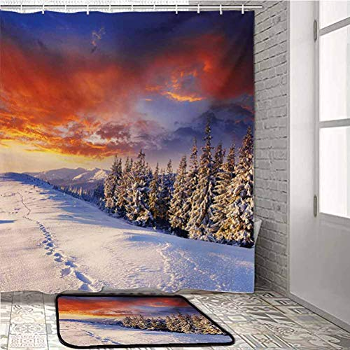 Winter Bathroom Sets with Shower Curtain and Rugs and Accessories Epic Cloudy Sky Over Majestic Mountains and Footsteps on Valley Design Marine Carpet for Boats Orange White