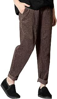 BODOAO Women Casual Corduroy Harem Pants Elastic Waist Pocket Trousers Lounge Pant