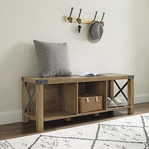 Walker Edison Furniture Company Shoe Storage Bench Hallway Organizer, MDF, Reclaimed Barnwood
