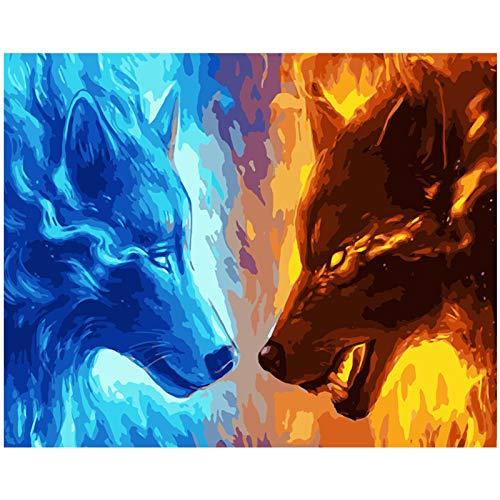 WSKZZ Feuerwolf Und Wasserwolf DIY digitales ölgemälde Digitale Stickerei mosaik kreuzstich Dekoration Geschenk 30x40 cm