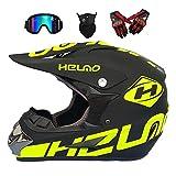 Casco de Descenso para Adultos Regalos Gafas máscara Guantes BMX MX ATV DH Carrera en Bicicleta de Cara Completa Casco Integral,C,L(58~59) CM