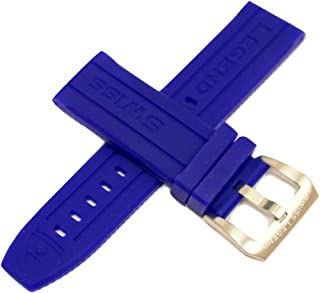 Swiss Legend 24MM Purple Silicone Rubber Watch Strap w/Silver Stainless Buckle fits 47mm Submersible Watch
