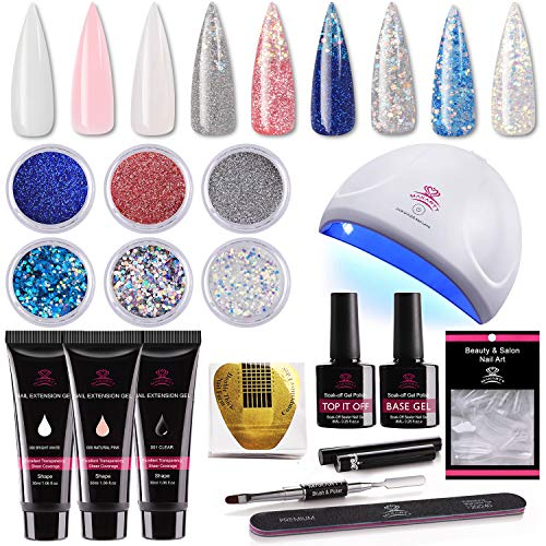 Makartt Nail Extension Gel Kit 30ml, Gel Builder Clear White Pink with 24w UV LED Nail Lamp and Glitter Powders Gorgeous French Manicure Kit P-09