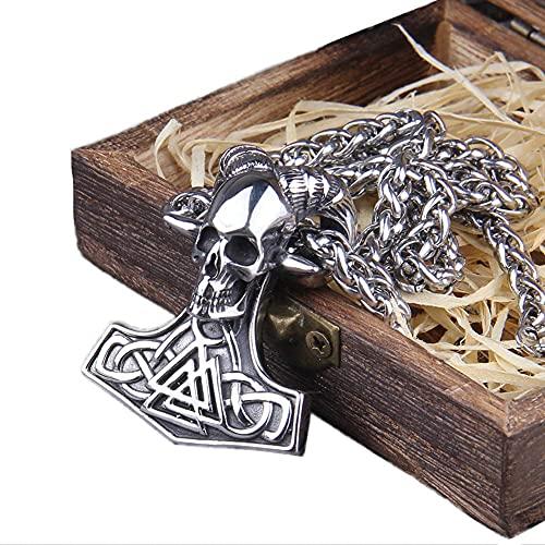 AMOZ Viking Odin Symbol Ram Skull Colgante Collar, Hombres de Acero Inoxidable Thor 's Hammer Valknut Totem Amulet, Mitología Nórdica Joyería Vintage