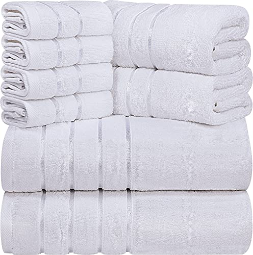 utopia luxury bath towels Utopia Towels White 8-Piece Bath Linen Sets - Viscose Stripe Towels - 600 GSM Ring Spun Cotton - Highly Absorbent Luxury Towel Set (Pack of 8)