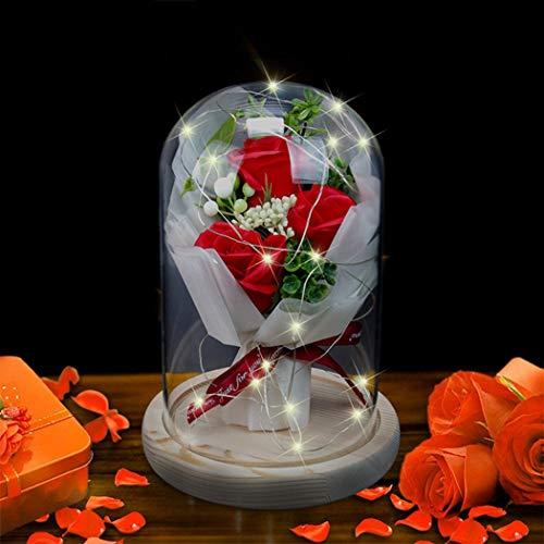 Fascigirl Cúpula De Cristal Led Decorativa Flor De Rosa De Imitación Iluminada Cúpula Adorno De Mesa Caja De Regalo Regalo para Niñas