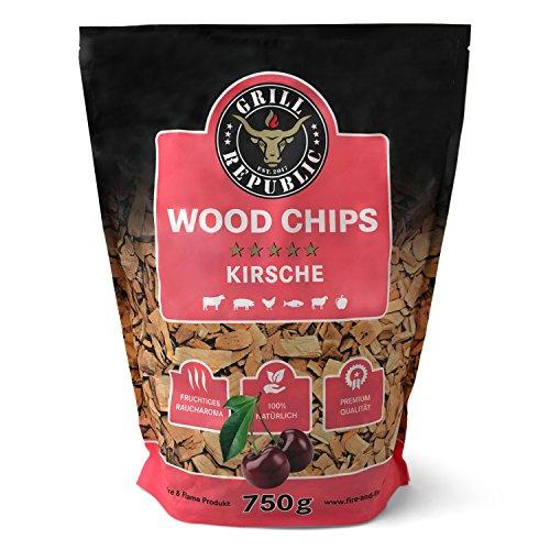 Premium Räucherchips Kirsche für optimales Raucharoma Beim Grillen | 100% Natürliches Smoker-Holz Geeignet für Kugel-, Stand- und Gas-Grill | Extra große 750 g Packung