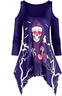 Women's Halloween Tunic Long Shirt Mini Dress Party Blouse Casual Long Sleeve Pullover T-Shirt Off Shoulder Tops