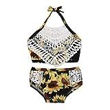Sunnymi - Conjunto de bikini para niña de 1 a 5 años, con borlas y flores amarillo amarillo Talla:18-24 meses