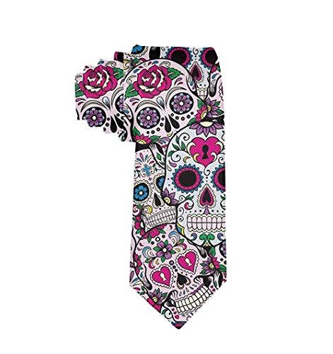 TTYIY Corgi Dog Art Herren Krawatte für Anzug, College Festival Gr. Einheitsgröße, Mexikanisches Sugar Skull Muster