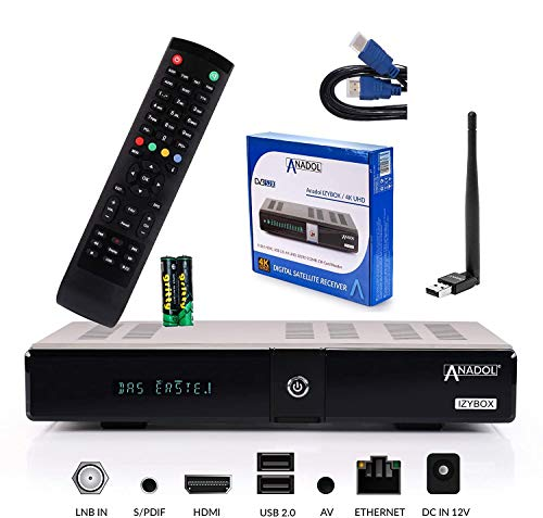 ANADOL IZYBOX 4K UHD Sat Receiver 2160P - DVB-S2X Tuner, Multistream, 2X USB, Astra vorinstalliert, PVR Aufnahmefunktion, Timeshift, Internet-Radio, HDR10, inkl. HDMI Kabel & USB WiFi Stick