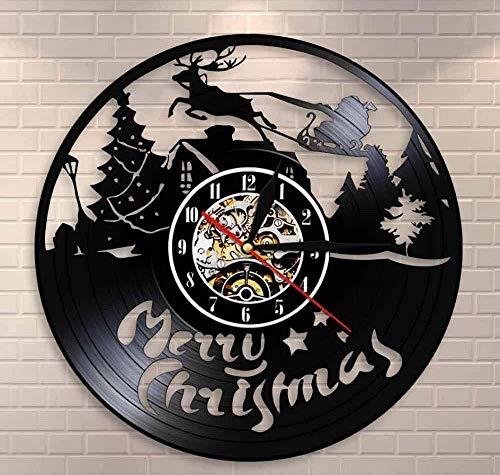 Liafa Weihnachten Zeichen Wanduhr Rentier Weihnachtsmann Auf Schlitten Schallplatte Wanduhr Frohe Weihnachten Symbole Einweihungsparty Geschenk