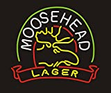 Moose Head Lager Personalized Custom Design Beer Neon Sign 17w x 14h, Handmade Glass Tube Neon Light Sign for Home Bar Pub Game Room and Recreation Decor Gifts
