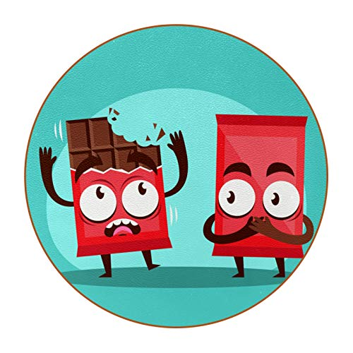 6 posavasos redondos de microfibra de piel para bebidas, posavasos decorativos para tipos de tazas y tazas, divertidos dibujos animados de chocolate con emoticonos