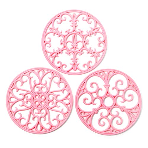 Trivet for Hot Dishes - Non-Slip & Heat Resistant Hot Pads for Countertops - Kitchen Trivets for Hot Dishes & Cookware - Hot Pot Holder for Pots & Pans - Pink,Set of 3