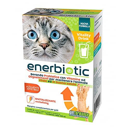 PETFORMANCE BENESSERE PER CANI E GATTI Enerbiotic - Bevanda Energizzante Prebiotica per Gatti - per Problemi Intestinali, 4 Buste Monodose da 60Ml