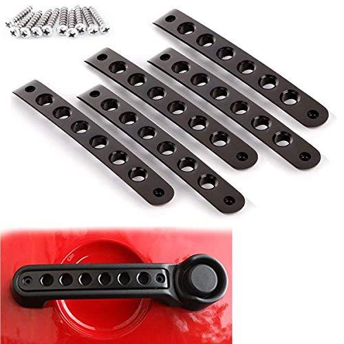 Aluminum Side Door Grab Handle Knobs Cover Trim 5pcs/Set Compatible with 2007-2018 Jeep Wrangler JK JKU Liberty Sahara & Unlimited 4 Door Handle Pull (Black)