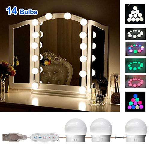 SELFILA Vanity Lights for Mirror, Adjustable RGB Color DIY Hollywood Style Led Vanity Mirror Lights kit in Dressing Room, Bathroom Wall MirrorMirror & USB Charger Not Include) (14 Bulbs)