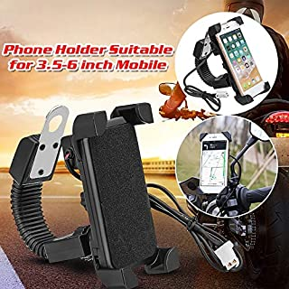 SaleOn™ Motorcycle Mobile Phone Holder Mount Support with USB Charger 360 Degree Rotation(Black)-1040