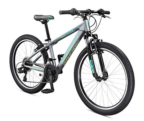 Mongoose Rockadile Kids Hardtail Mountain Bike, 24-Inch Wheels, Charcoal